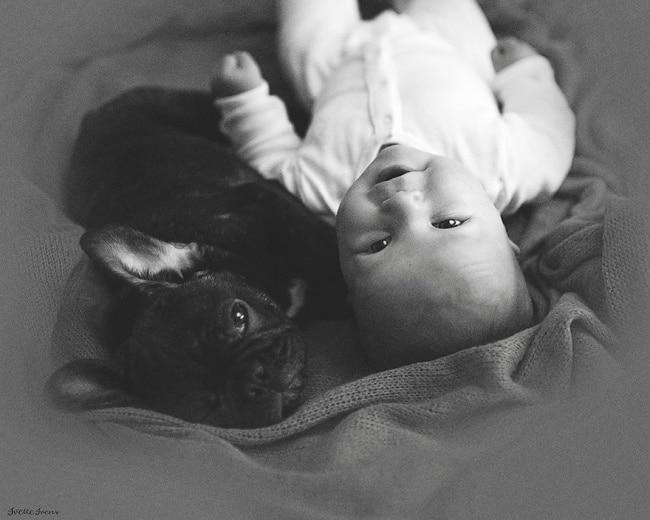 Ez a kisbaba a kiskutyával egy napon született
