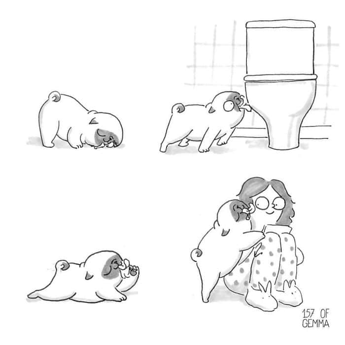 16 jópofa illusztráció, ami tökéletesen bemutatja, hogy milyen az élet egy mopsszal