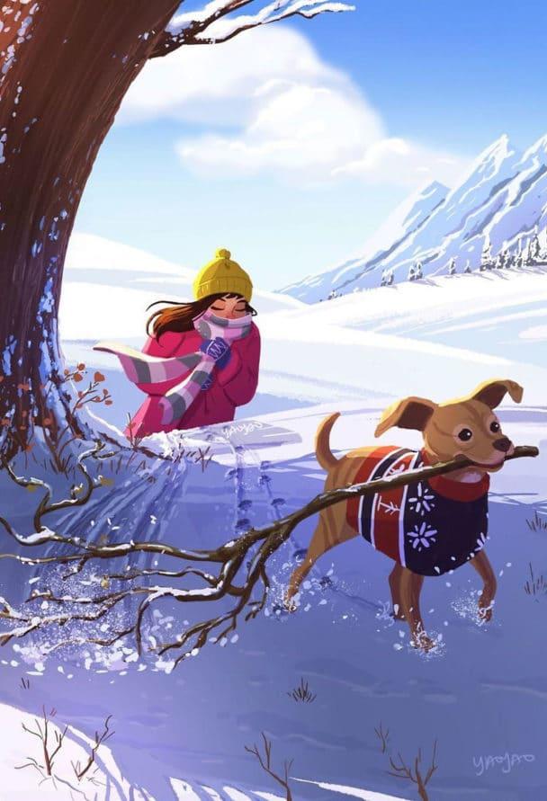 Szívmelengető illusztrációk egy kutya és egy lány életéről