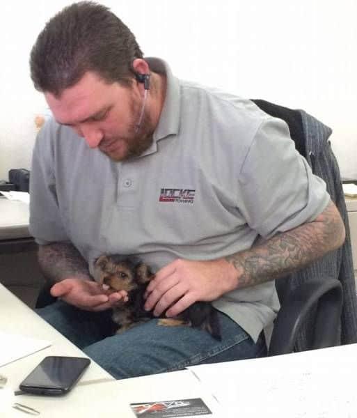 boldog gazdi, aki először találkozik a kutyájával
