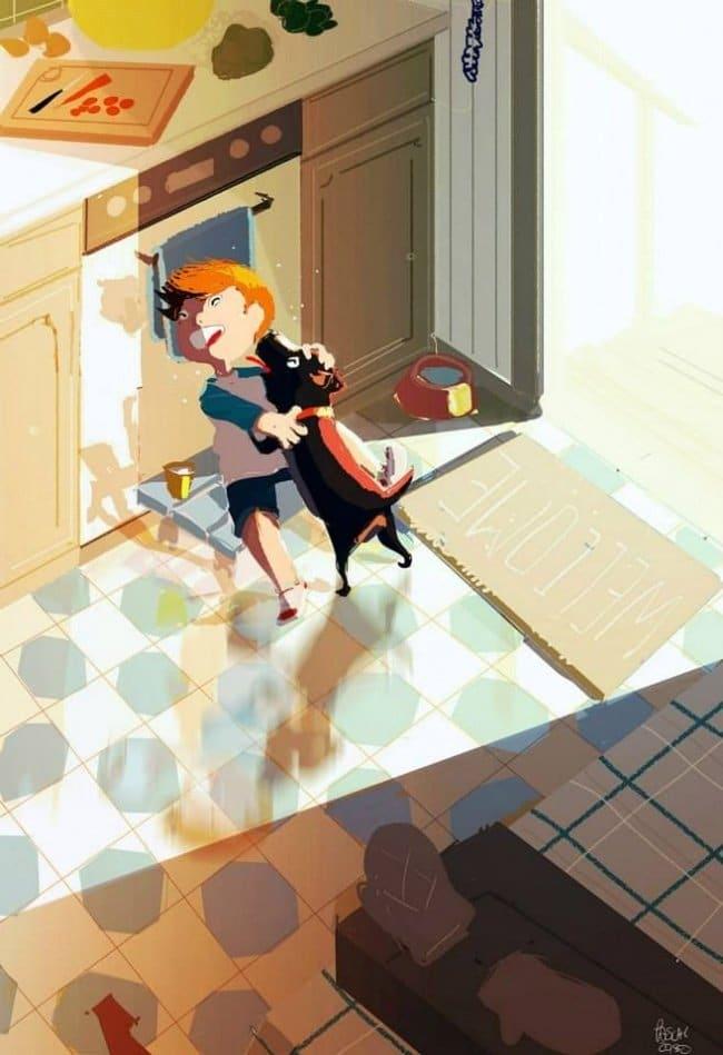 illusztráció az emberek és kedvenceik közti szeretetről1