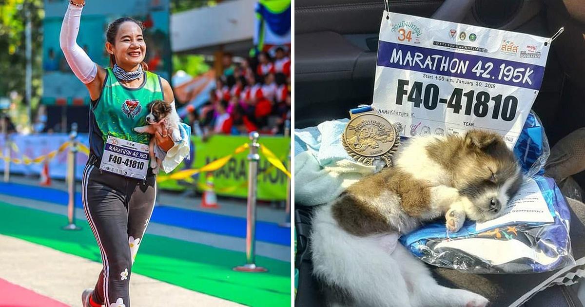 Verseny közben talált egy kiskutyát a maratonfutó